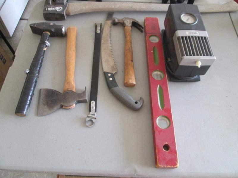 "Lot # 77 - 24"" Level, Hand Tools, Compressor + Chopper Axe (main image)"
