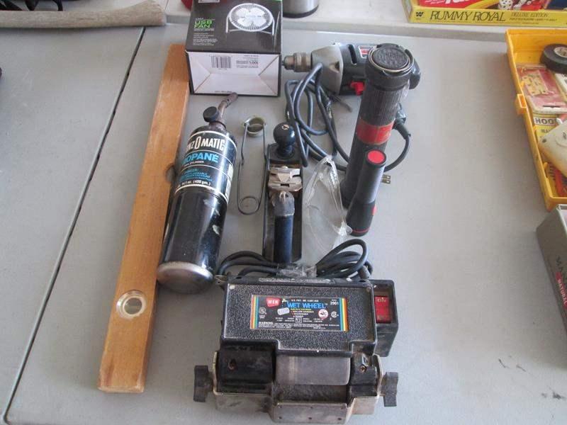 "Lot # 78 - Craftsman Drill, Wet Wheel Machine, 4"" Fan + Tools (main image)"