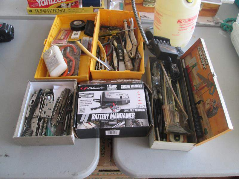 Lot # 79 - Schumacher 1.5Amp Trickle Charger, Drill Bits + Tools (main image)
