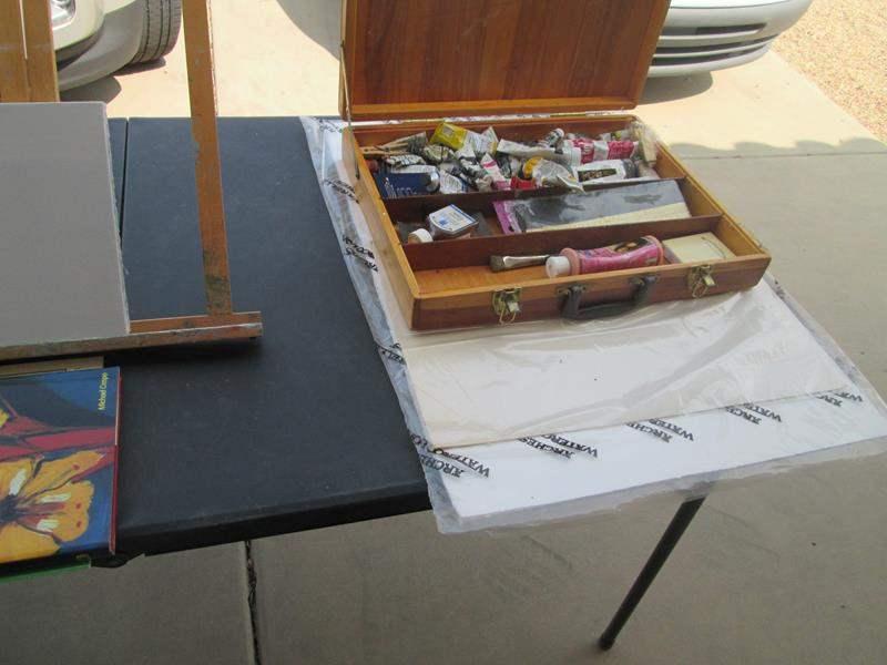 Lot # 84 - Art Supplies:  Canvas, Paints, Books, Paper, Easel (main image)