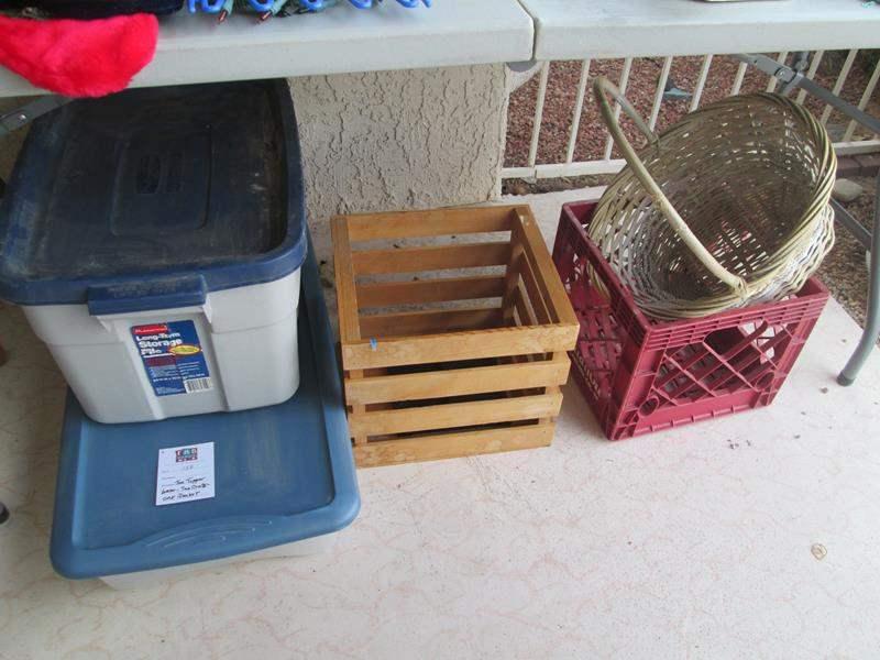 Lot # 138 - 2-Bins, 2-Crates & Basket (main image)