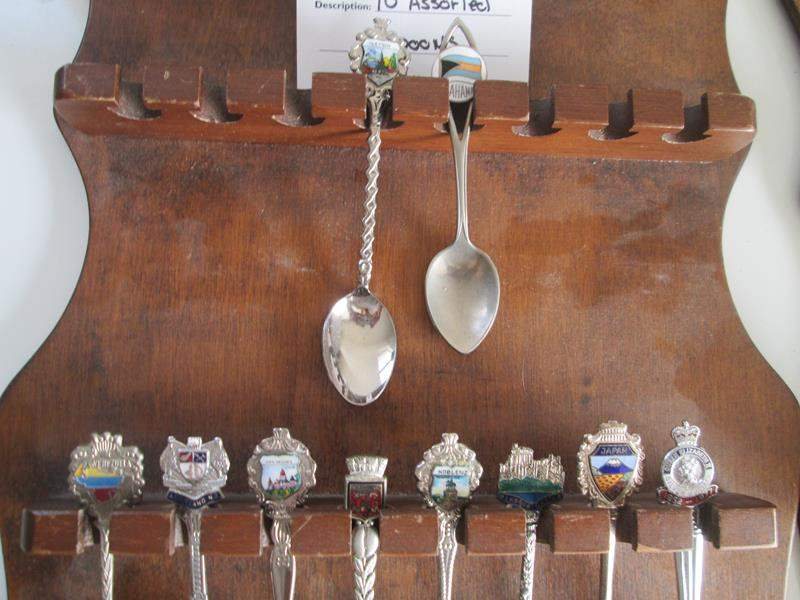 Lot # 188 - 10-Collector Spoons with Rack (main image)