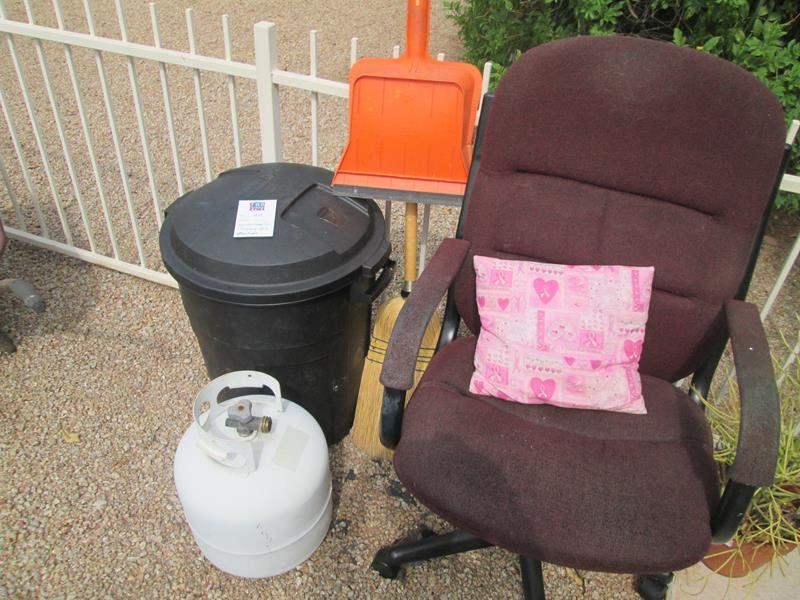 Lot # 200 - Secretarial Chair, Garage Can & Propane Tank (main image)
