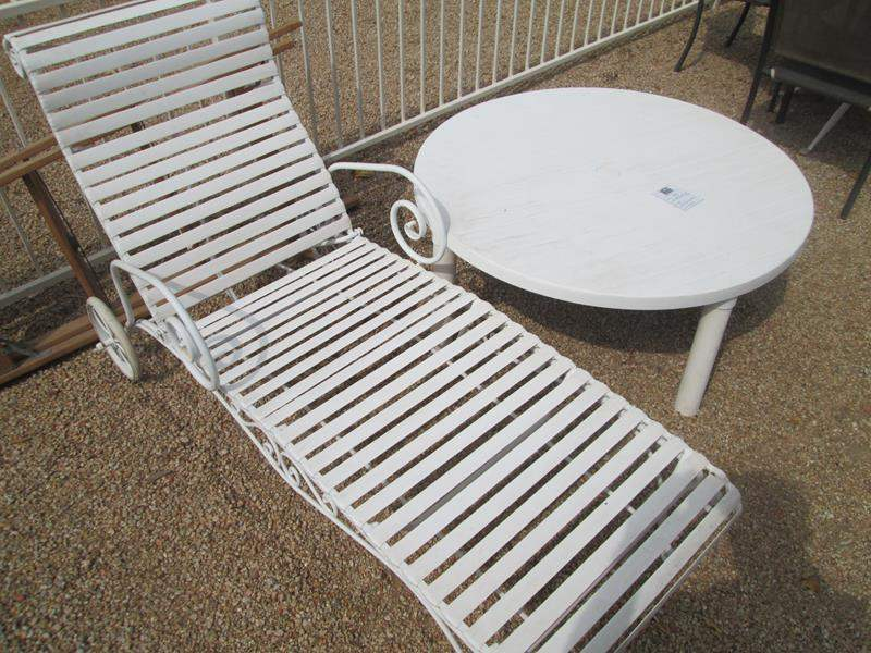 """Lot # 203 - Round Patio Table, 40"""" X 17"""" high + Chaise Lounge (main image)"""