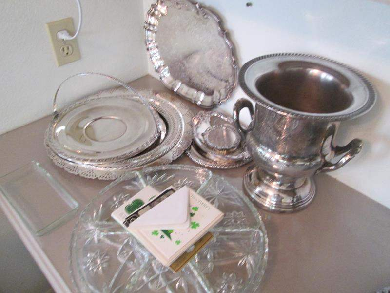 Lot # 207 - Vintage Silver Plate & Glassware Serving Pieces, 19 Items (main image)