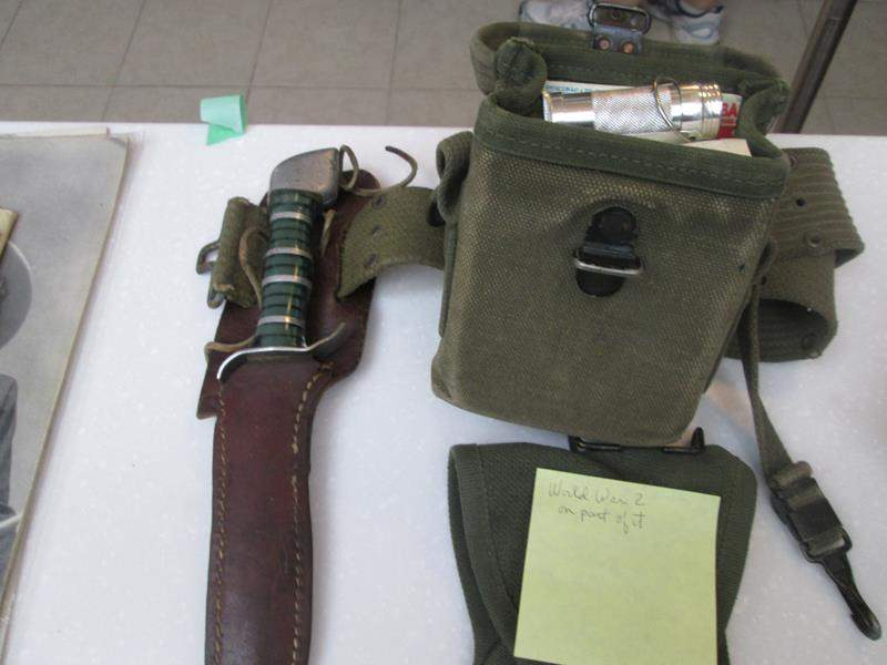 Lot #210 -WWII Gun Holder, Knife in Sheath & Medical Case with Supplies (main image)