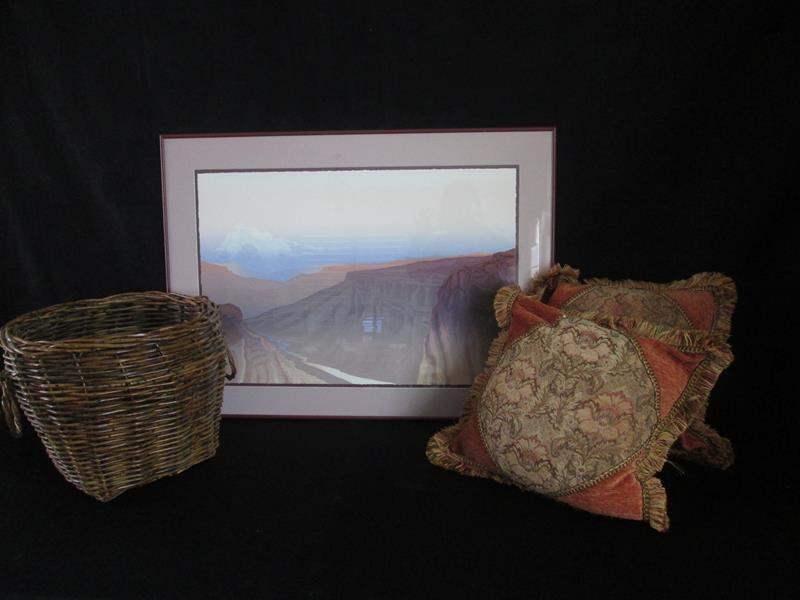 Lot # 237 - Framed Art, Basket & 2-Throw Pillows (main image)