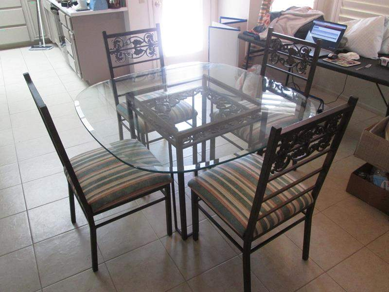 Lot # 240 - Dinette Table/4-Chairs, Glass Top, Metal Frames + Fabric Bolt (main image)