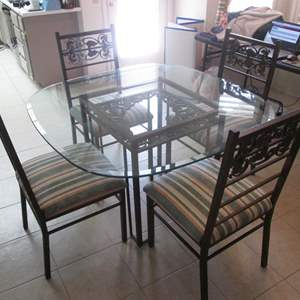 Auction Thumbnail for: Lot # 240 - Dinette Table/4-Chairs, Glass Top, Metal Frames + Fabric Bolt