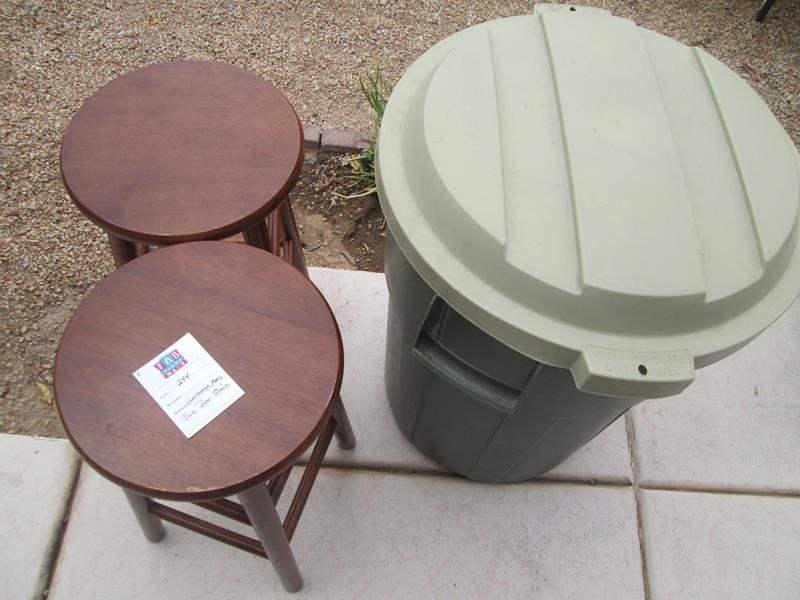Lot # 244 - 2-Bar Stools & Garbage Pail (main image)