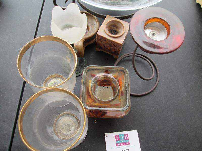 Lot # 253 - Candle Holders, 2-Glasses, Bowl & Stand (main image)