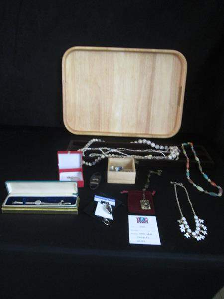 Lot # 262 - Wooden Tray, Costume Jewelry & Watches, Men's Cufflinks (main image)
