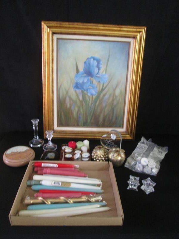 Lot # 263 - Candlesticks, Candles, Framed Art, Clock ++ (main image)