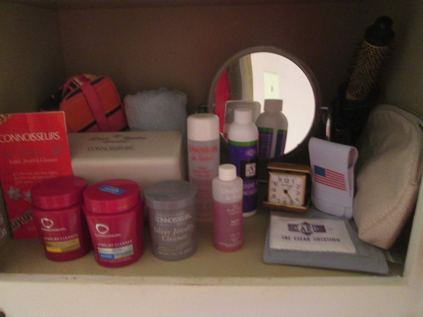 Lot # 18 - Jewelry Cleaner & Solutions + Travel Clock & Mirror (main image)