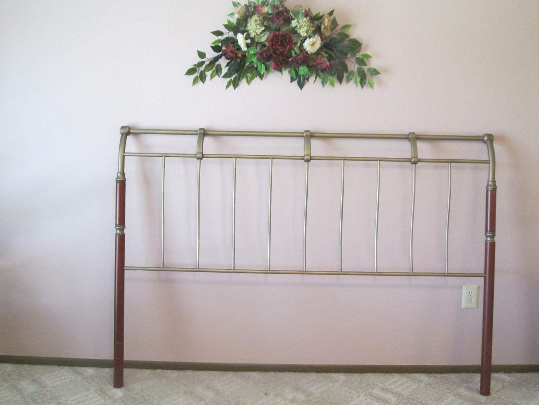 Lot # 31 - King Headboard, Brass & Wood + Floral (main image)
