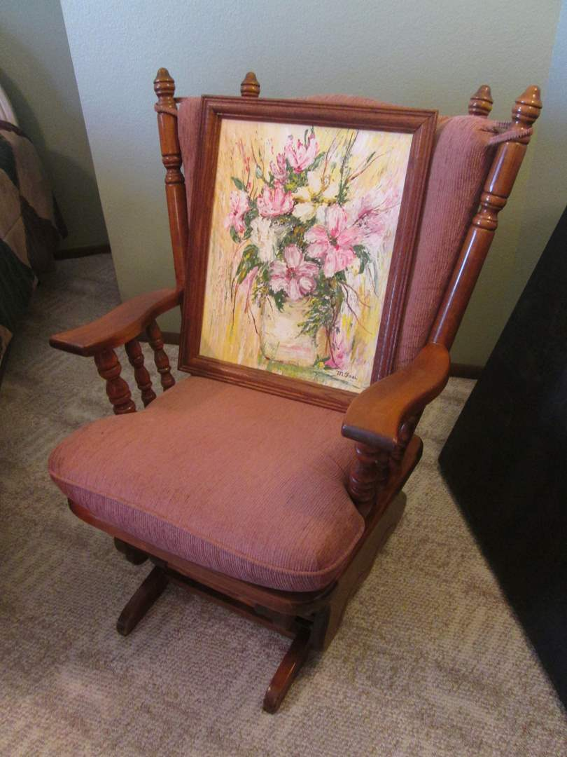Lot # 21 - Colonial-Style Rocker + Picture (main image)