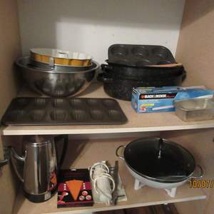 Auction Thumbnail for: Lot # 97 - Bakeware, Vintage Coffee Pot & Electric Knife, Wok
