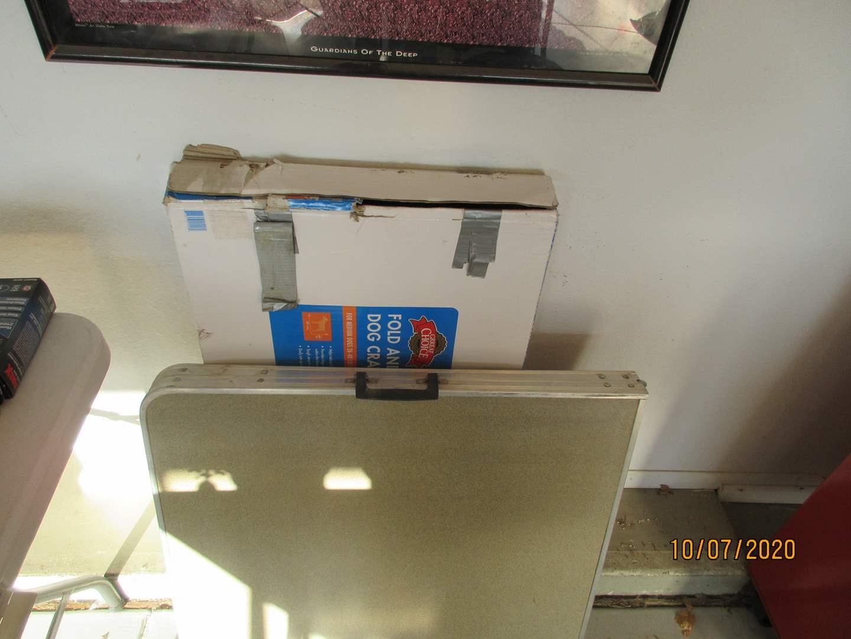 Lot # 108 - Dog Kennel, Folding Table & 2-Framed Pictures (main image)