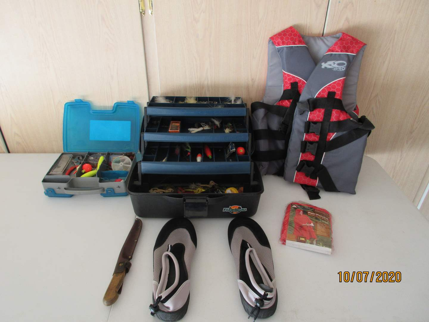 Lot # 113 - Fishing Gear, Life Vest, Raincoat & Shoes (main image)
