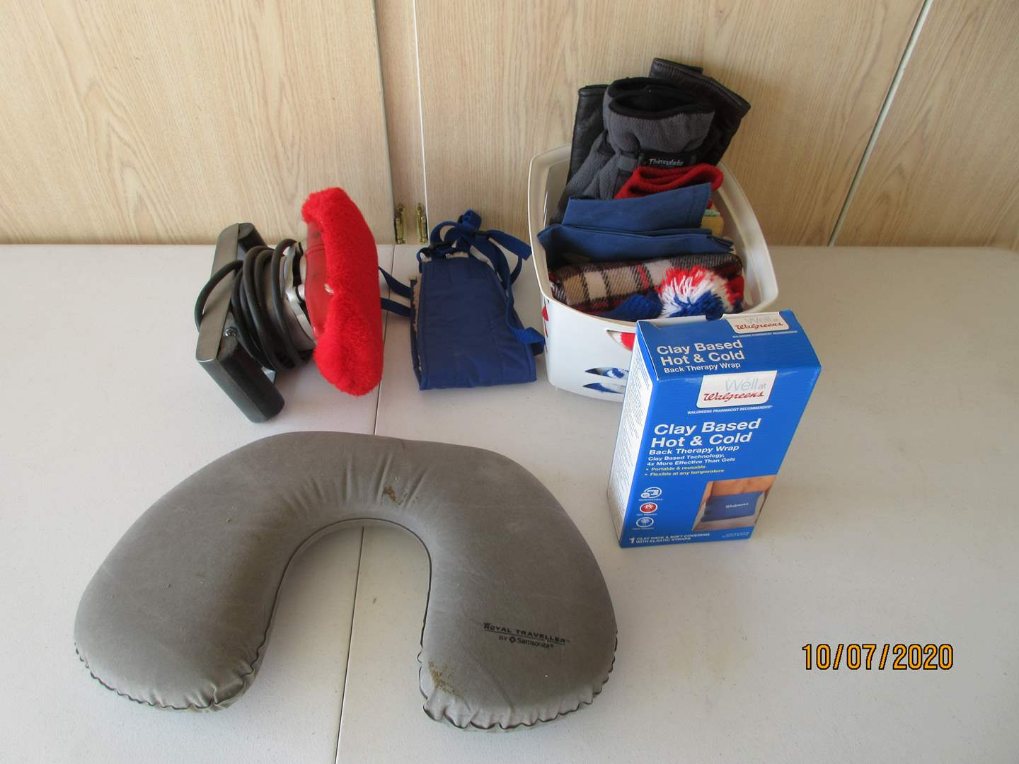 Lot # 118 - Massager, Therapy Wrap, Neck Pillow, Gloves & Hat (main image)