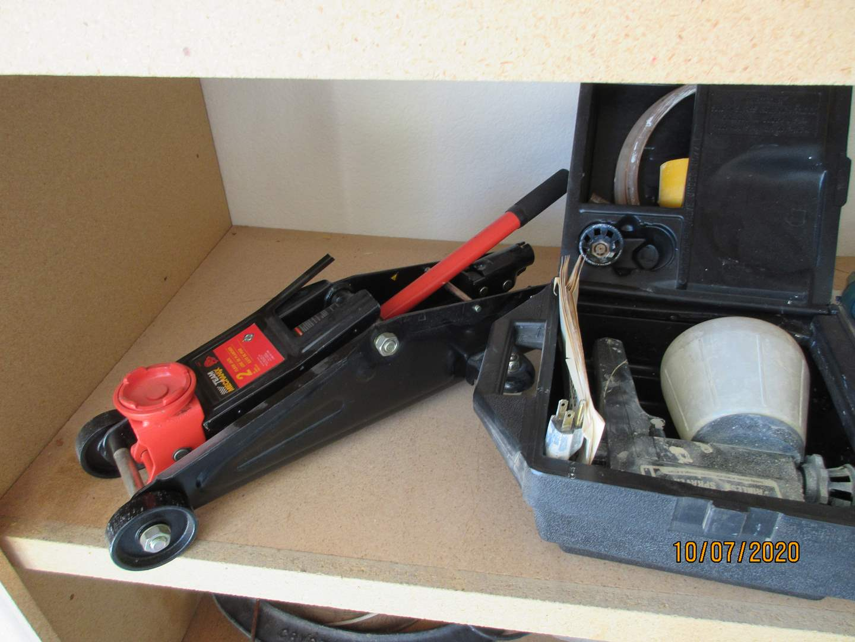 Lot # 145 - Mint Car Jack, Paint Gun, Sander, Water Gun (main image)