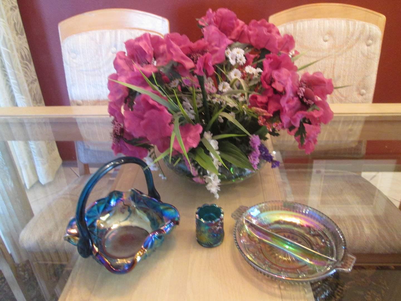 Lot # 182 - 3-Pieces Blue Carnival Glass + Floral (main image)