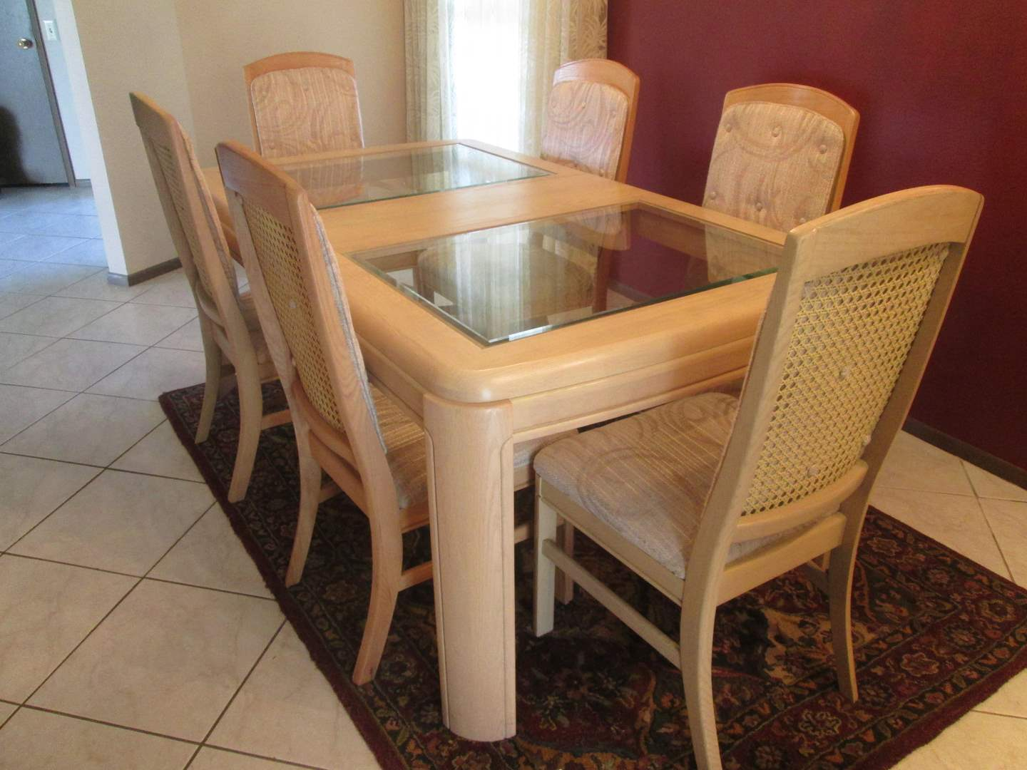 Lot # 183 - Dining Room Table/6-Chairs + 1-Leaf, Glass Inserts & Cane Backs (main image)