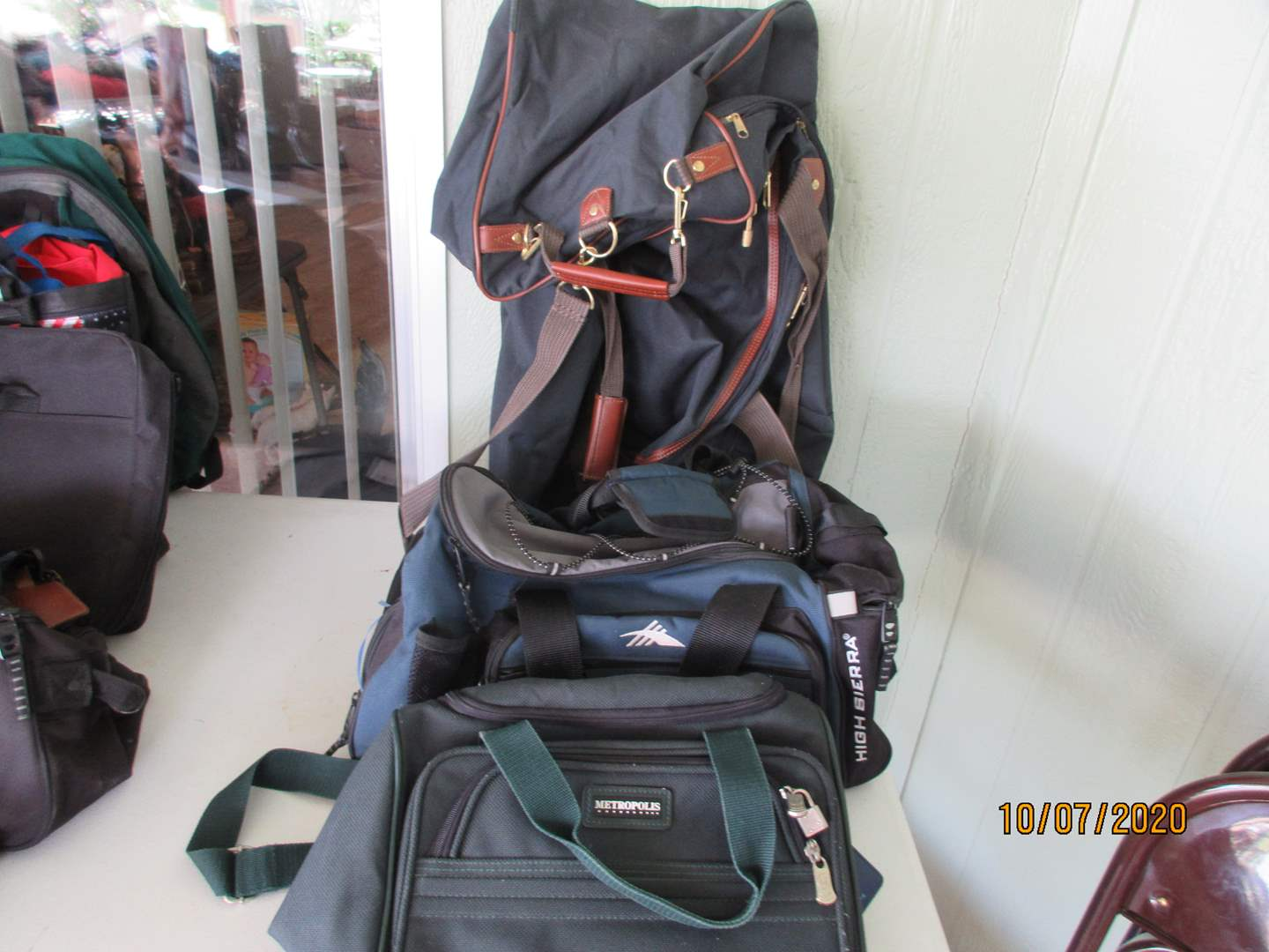 Lot # 160 - Luggage & Overnight Bags + Bin with Rags (main image)