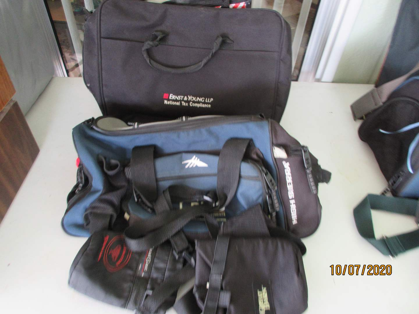 Lot # 161 - Canvas Bags, Backpack & Overnight Bag + Bin of Rags (main image)
