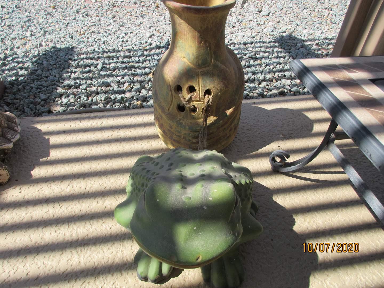 """Lot # 171 - Yard Decor:  18"""" Vase + Happy Frog (main image)"""
