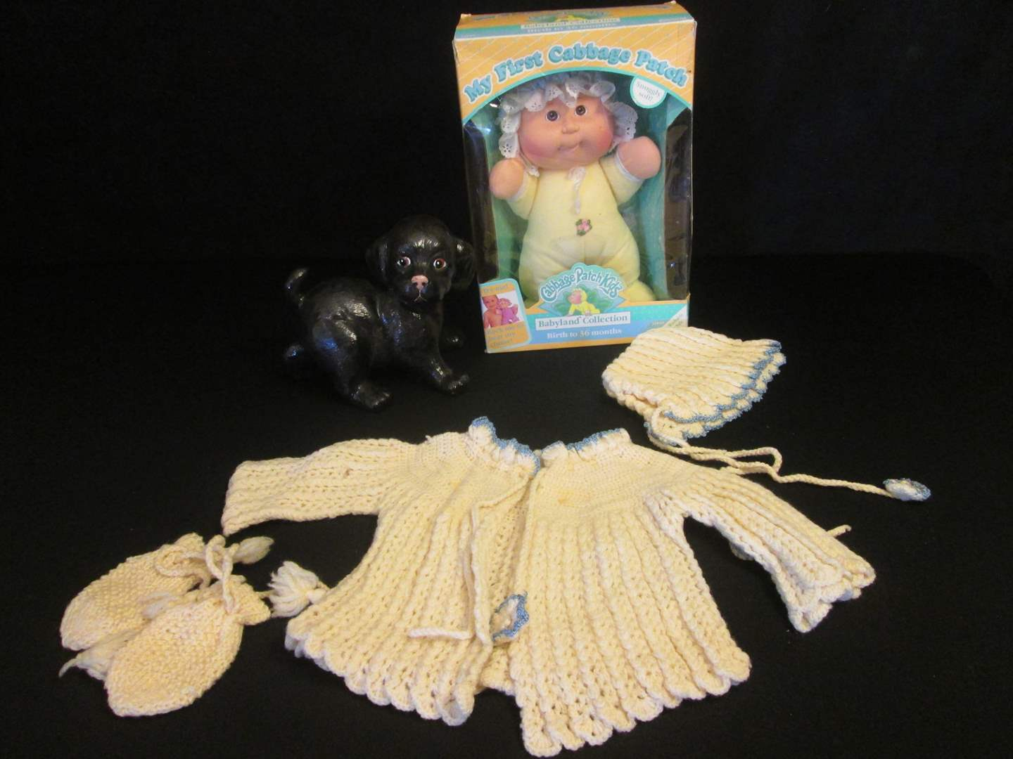Lot # 82 - Cabbage Patch Kid NIB, Dog, Vintage Baby Outfit  (main image)