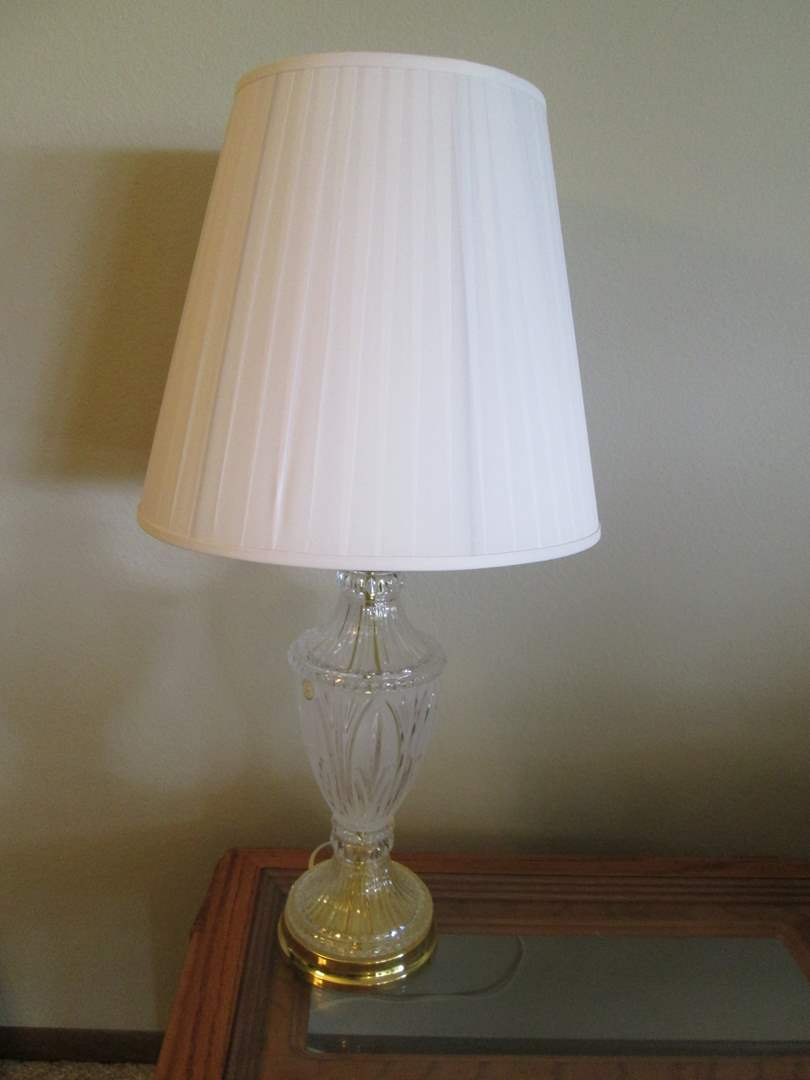 Lot # 71 - Crystal Base Table Lamp, Books & Florals (main image)