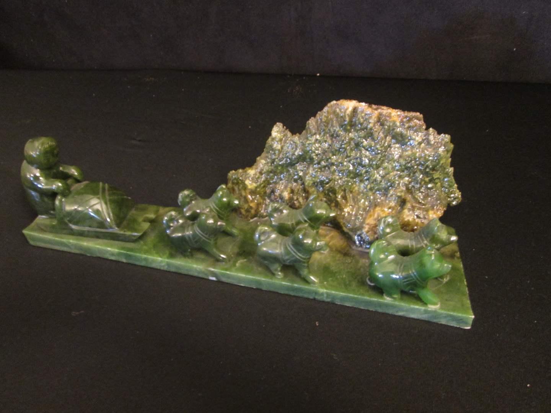 "Lot # 87 - 11"" Jade Husky Dog-Sled Sculpture (main image)"
