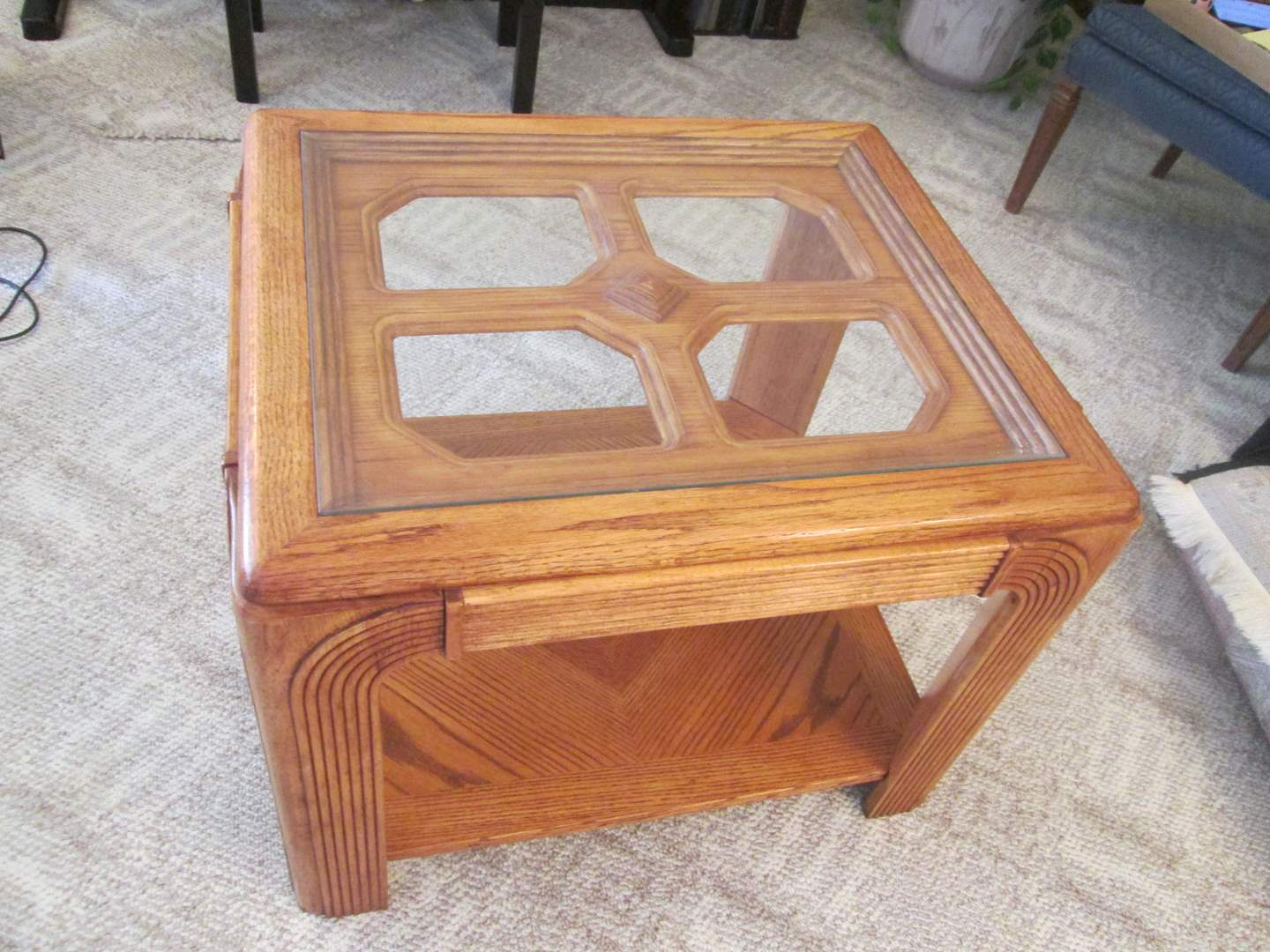 Lot # 76 - End Table with Glass Inserts (main image)