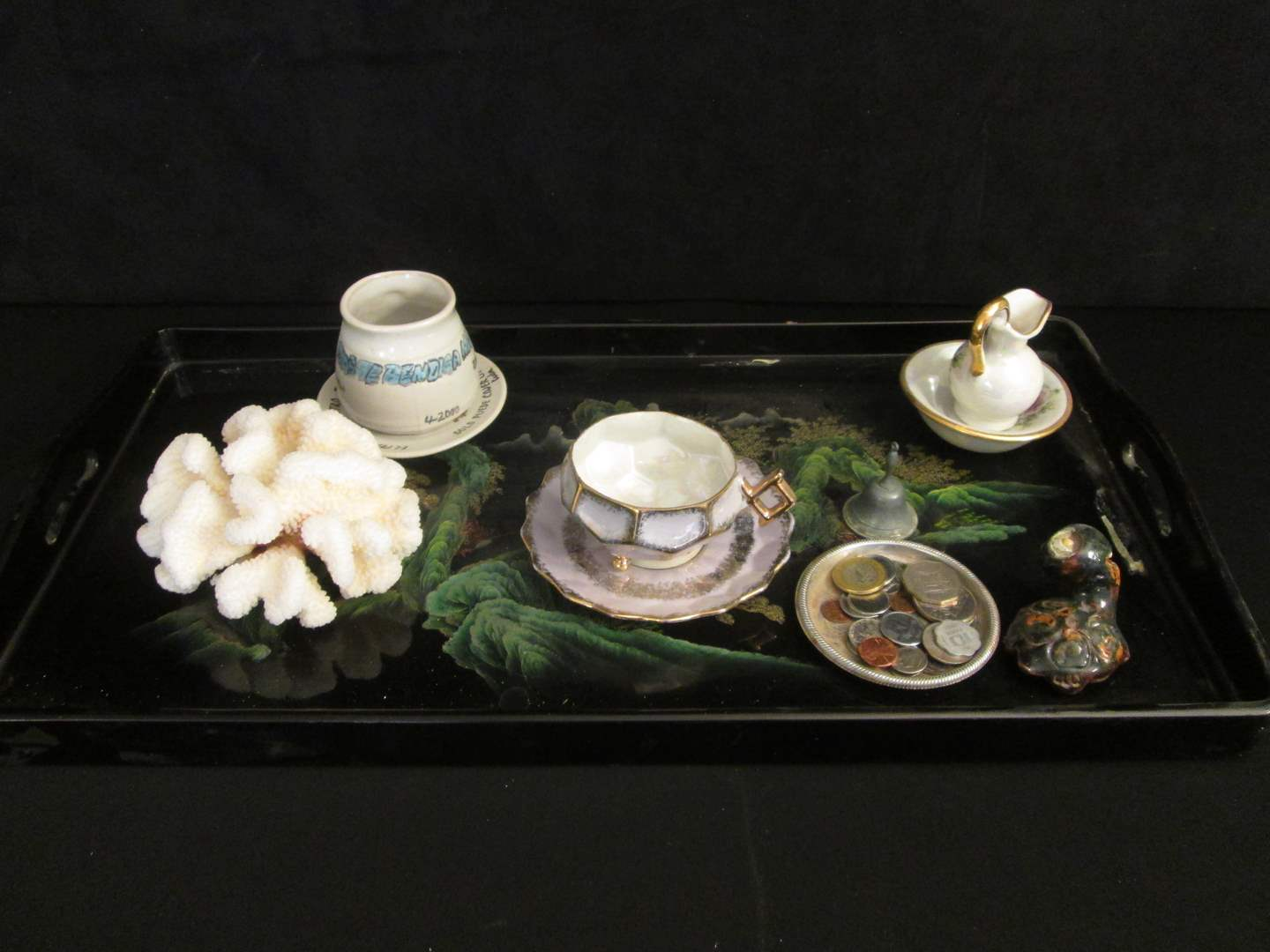 Lot # 89 - Lacquer Tray, Coins, Coral, +++ (main image)