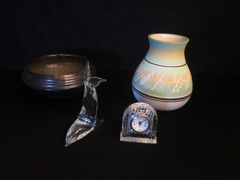 Lot # 191 - Mesa Verde Pottery, Clock & Glass Seal Sculpture (main image)