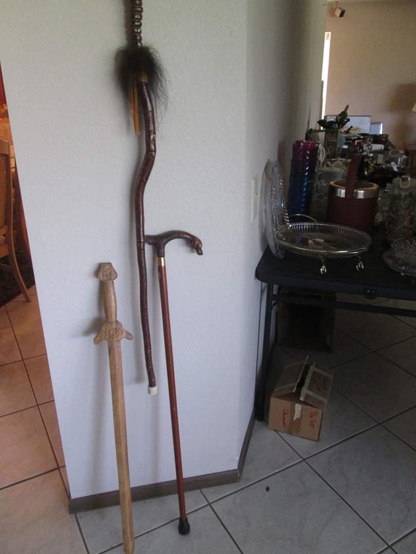 Lot # 217 - 2-Embellished Canes + Wooden Sword (main image)