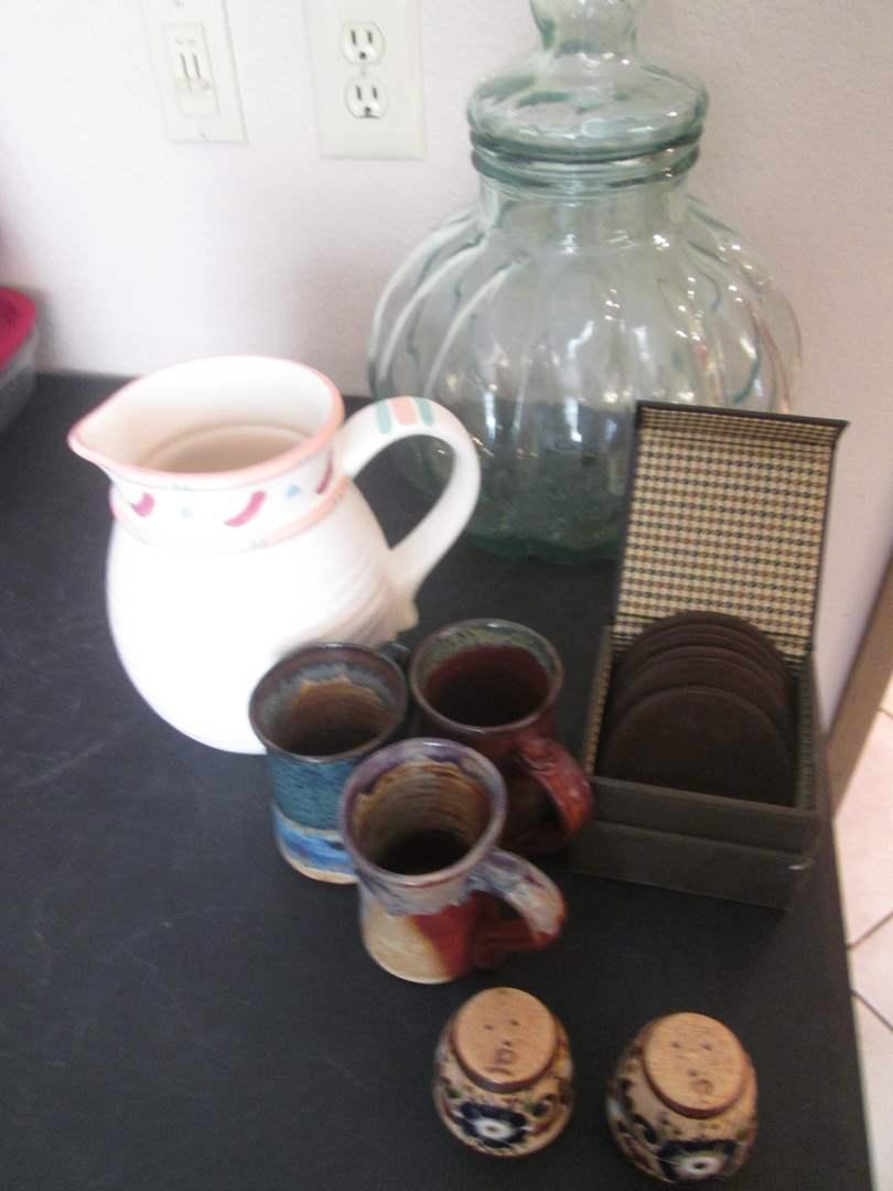 Lot # 229 - Large Jar, Pitcher, Mugs, Coasters, Salt/Pepper (main image)