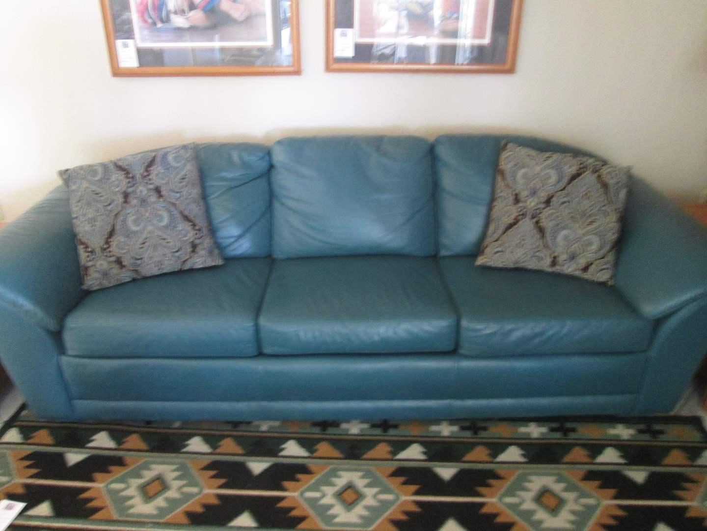 """Lot # 241 - 96"""" Teal Leather Sofa (main image)"""