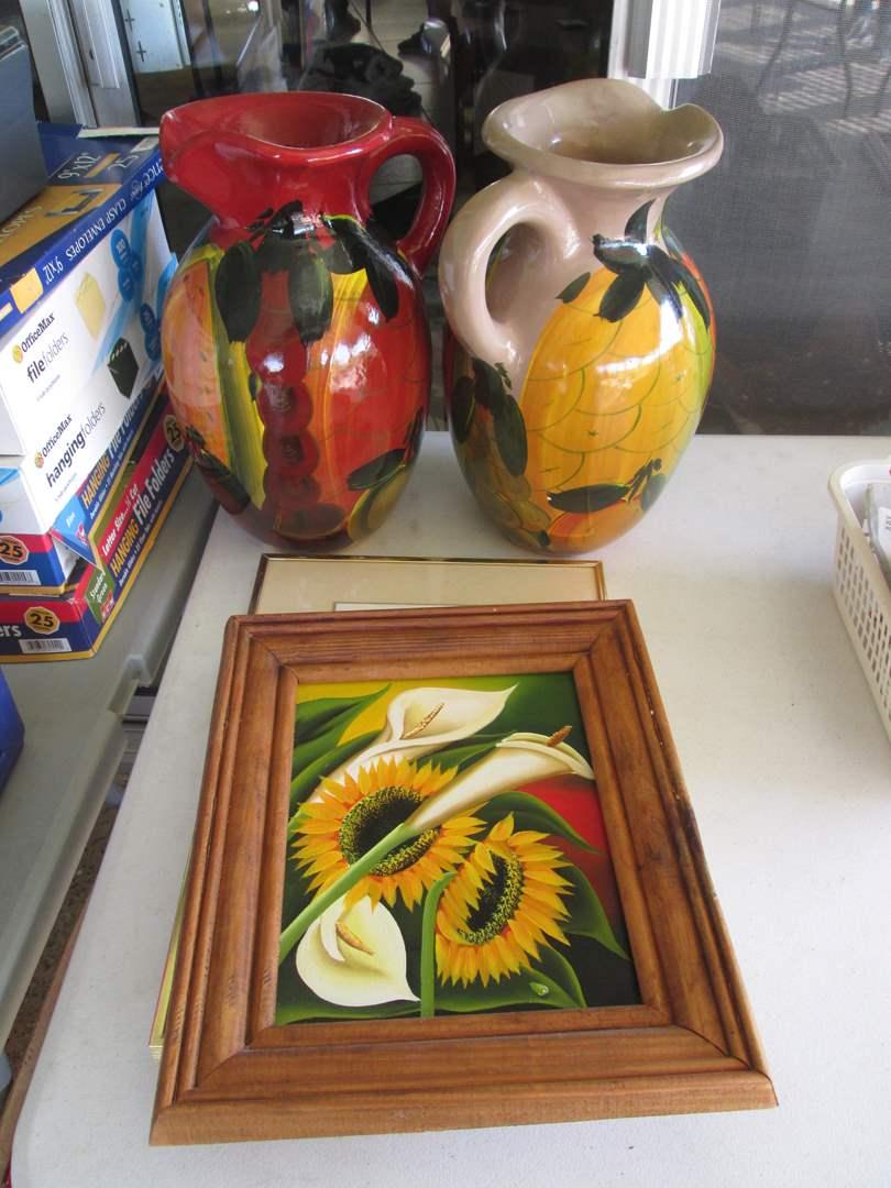 Lot # 265 - Colorful Ceramic Pitchers & Framed Art (main image)