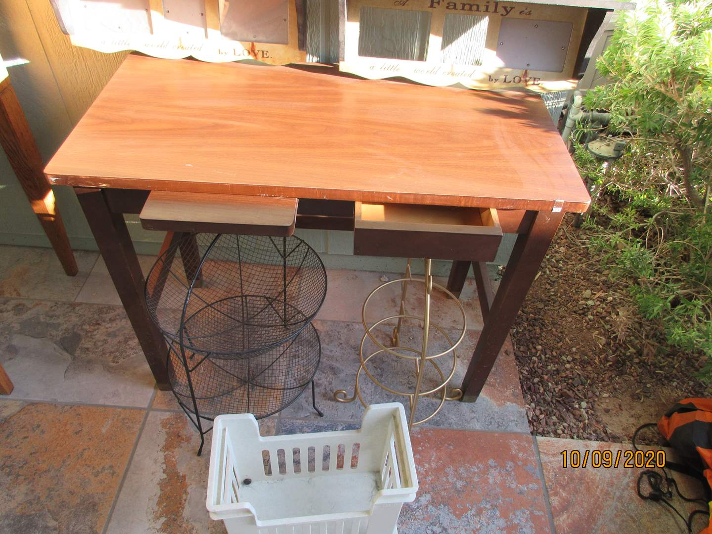 Lot # 298 - Table, Wall Art, 2 Stands & Basket (main image)