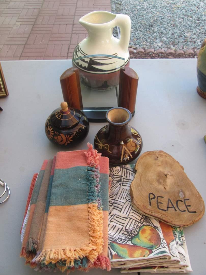 Lot # 270 - Decorative Pottery & Table Linens (main image)