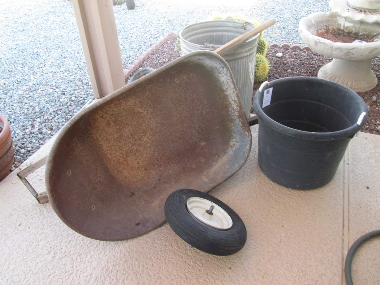 Lot # 166 - Wheelbarrow, Garbage Pail & Bucket (main image)