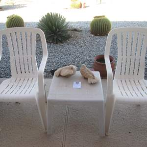 Auction Thumbnail for: Lot # 168 - 2-Plastic Yard Chairs & Table + Yard Decor