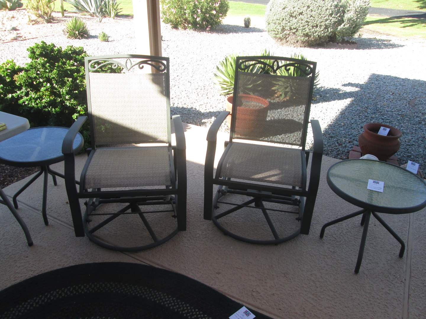 Lot # 173 - 2-Swivel Rocker Yard Chairs & 2-Round Accent Yard Tables (main image)