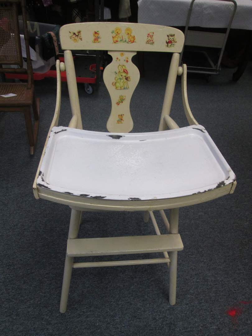 Lot # 2 - Vintage High Chair with Removable Enameled Tray (main image)