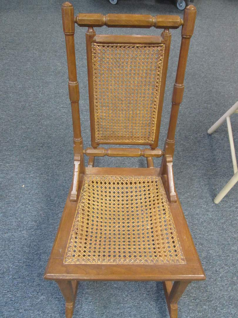 Lot # 3 - Older Rocking Chair with Cane Back & Seat Inserts (main image)