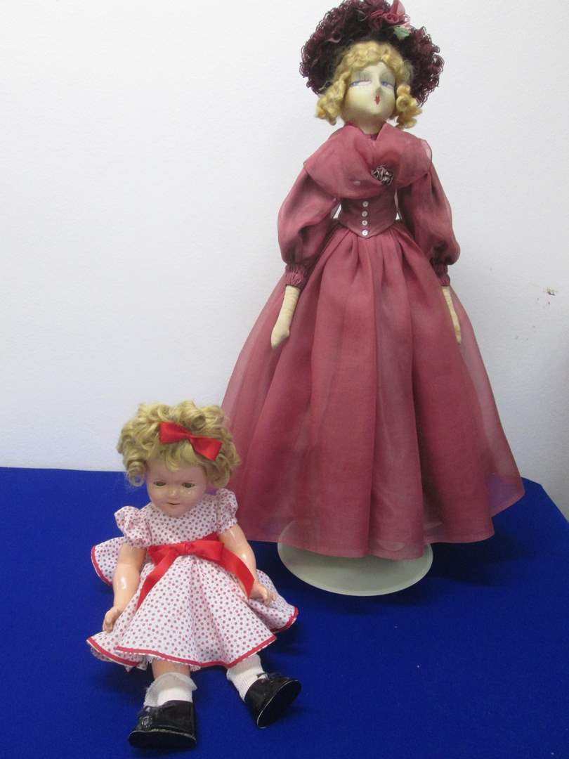 """Lot # 6 - 2-Vintage Dolls:  18"""" Shirley Temple & 30"""" Ideal on Stand (main image)"""