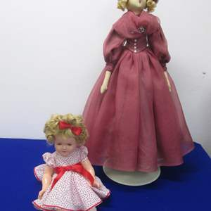 """Lot # 6 - 2-Vintage Dolls:  18"""" Shirley Temple & 30"""" Ideal on Stand"""