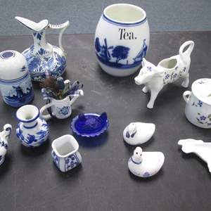 Lot # 12 - Variety of Delft, Cordon Bleu & German-Made Blue & White Items